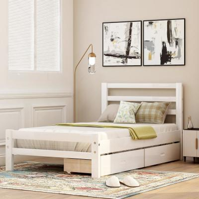 White Twin Wood Platform Bed with 2-Drawers