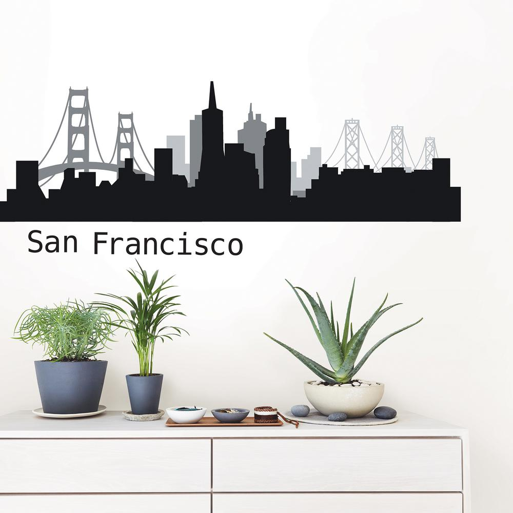 Nice WallPOPs San Francisco Black Cityscape Wall Art Kit
