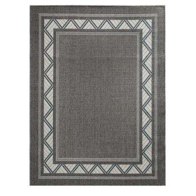 Nantucket Milas Granite/Ecru/Cobalt 5 ft. x 7 ft. Rectangle Indoor/Outdoor Area Rug