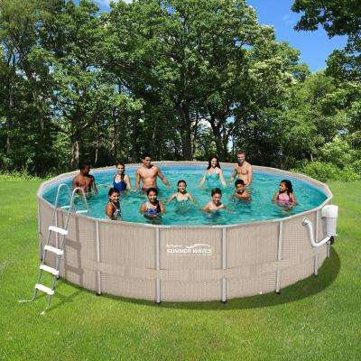 Light Wicker 18 ft. Round x 52 in. Deep Metal Frame Above Ground Pool Package