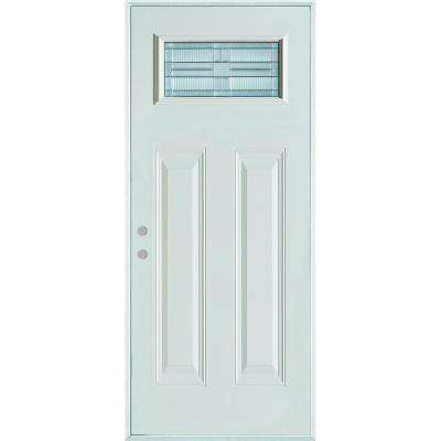 37.375 in. x 82.375 in. Architectural Rectangular Lite 2-Panel Painted White Steel Prehung Front Door