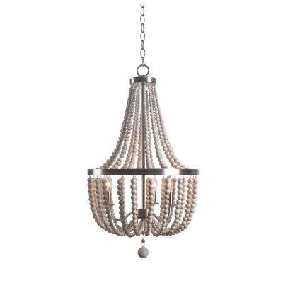 Dumas 3-Light Steel Chandelier with Wood Shade