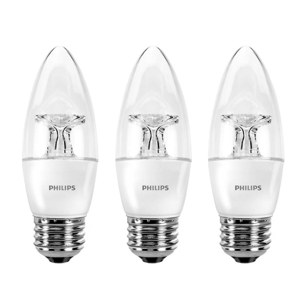 Philips 40-Watt Equivalent B11 Dimmable LED Light Bulb Bright White Energy Star (3-Pack)