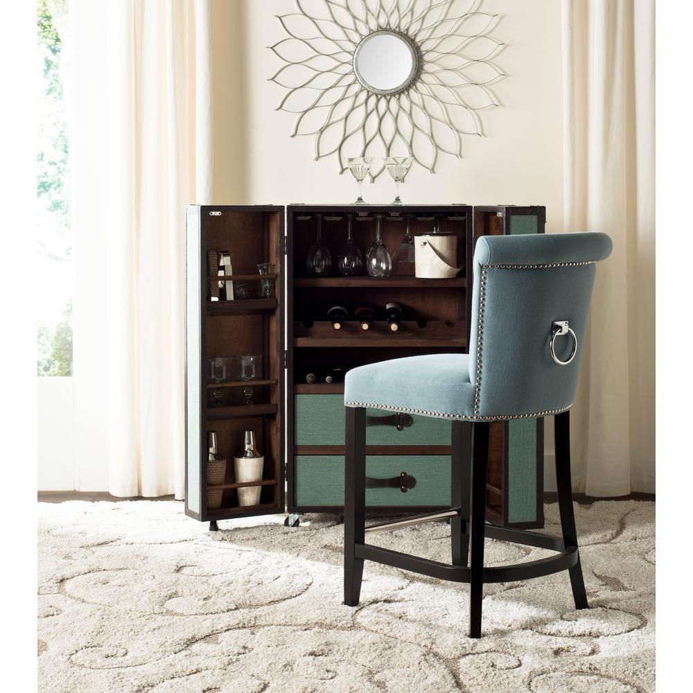 Safavieh Addo 25.7 in. Sky Blue Cushioned Bar Stool HUD8241C