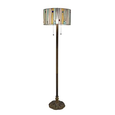Tiffany Blue Contemporary 60 in. Bronze Floor Lamp