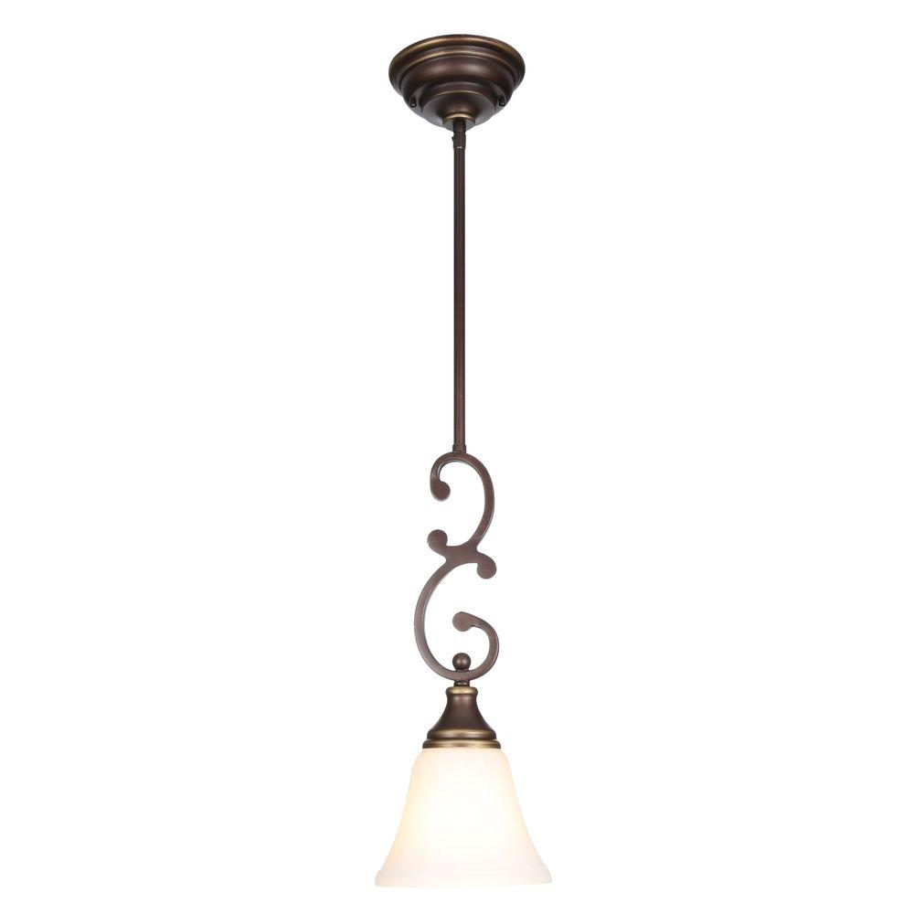 Hampton Bay Somerset 1-Light Oil-Rubbed Bronze Mini Pendant with Bell Shaped Frosted Glass Shade