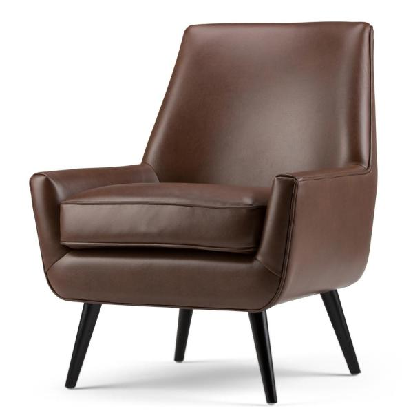 Simpli Home Warhol 30 in. Wide Mid Century Modern Accent Chair in Saddle Brown Faux Air Leather