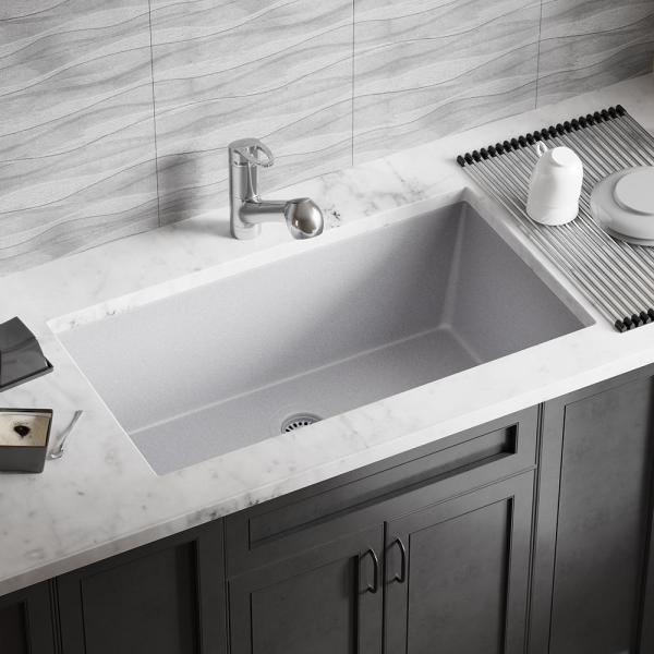 Mr Direct All In One Undermount Granite Composite 32 625 In 0 Hole Single Bowl Kitchen Sink In Silver 848 S Bskt The Home Depot