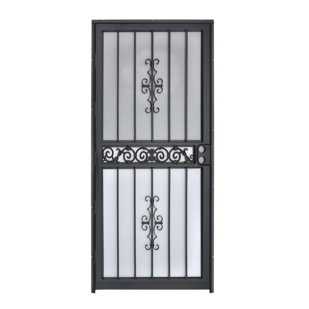 Grisham 32 in. x 80 in. 401 Series Mariposa Steel Black Prehung Security Door