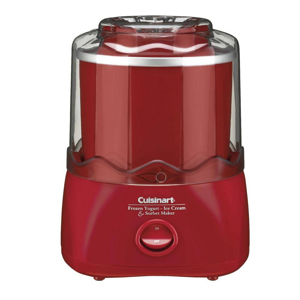 Cuisinart 1.5 Qt. Frozen Yogurt and Sorbet Maker, Red/Orange The Cuisinart ICE-21R Automatic Frozen Yogurt-Ice Cream and Sorbet Maker in Red allow you to enjoy the finest homemade frozen treats - at home. The fully automatic Cuisinart Frozen Yogurt - Ice Cream and Sorbet Maker lets you make your favorites in 20 minutes or less, with no fuss and no mess. Just add ingredients to the bowl, press on and the machine does the rest. Color: Red/Orange.