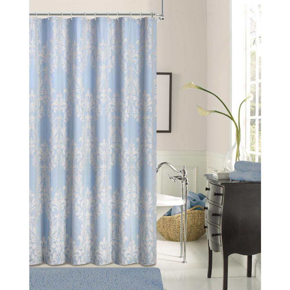 Dainty Home Floral Damask 72 In. Blue Cotton Blend Shower Curtain