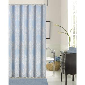 Floral Damask 72 inch Blue Cotton Blend Shower Curtain by