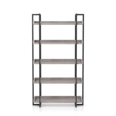 Fitzwallace 72 in. Antique Gray and Gun Metal 5-Layer Wood Shelf