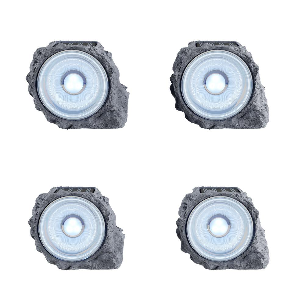 Pure Garden Nature-Inspired Stone Outdoor Integrated LED Landscape Rock Spotlights (4-Pack)