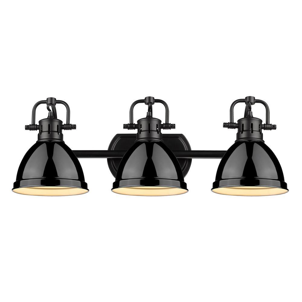 Golden Lighting Duncan 3-Light Black Bath Light with Black ...