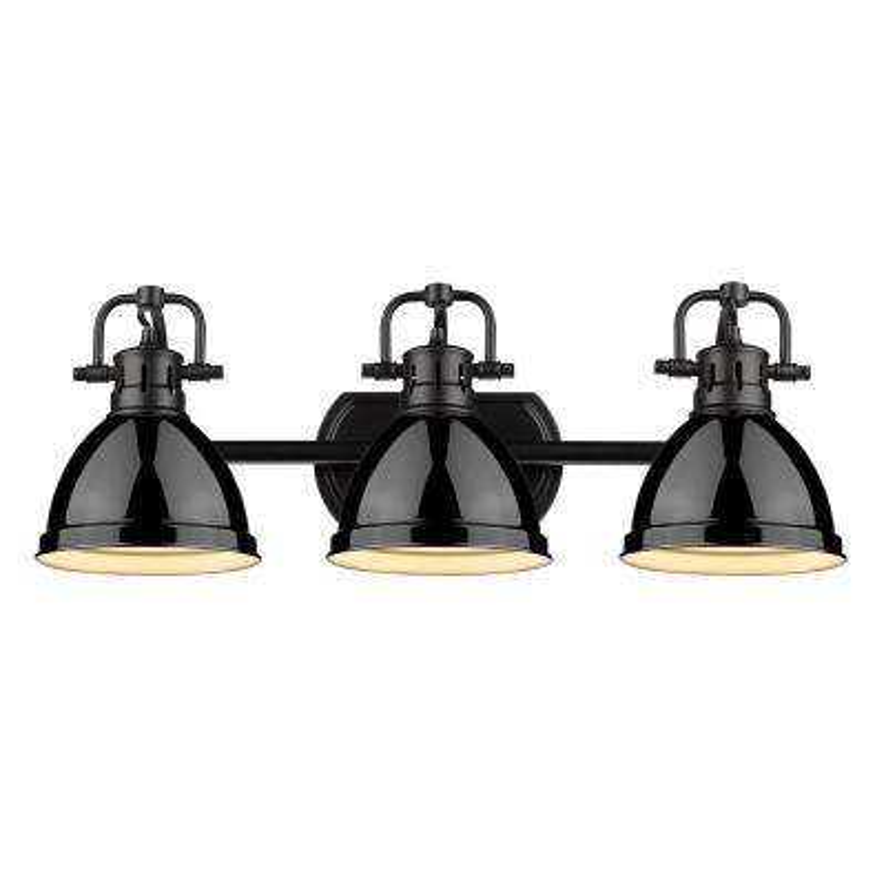 Duncan 3-Light Black Bath Light with Black Shade