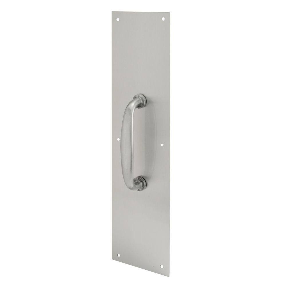 Prime-Line 4 in. x 16 in. Satin Aluminum Oval Handle Door Pull Plate