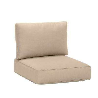 Commercial Grade Armless Middle Outdoor Sectional Chair Cushion in Sunbrella Canvas Antique Beige