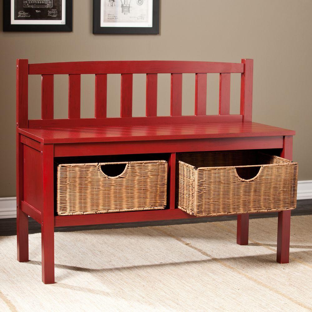 Southern Enterprises Hubert Red Storage Bench