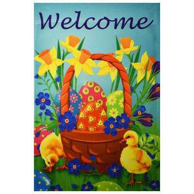 1 ft. x 1-1/2 ft. Happy Easter Eggs Ducklings and Daffodil Welcome Garden Decorative Flag