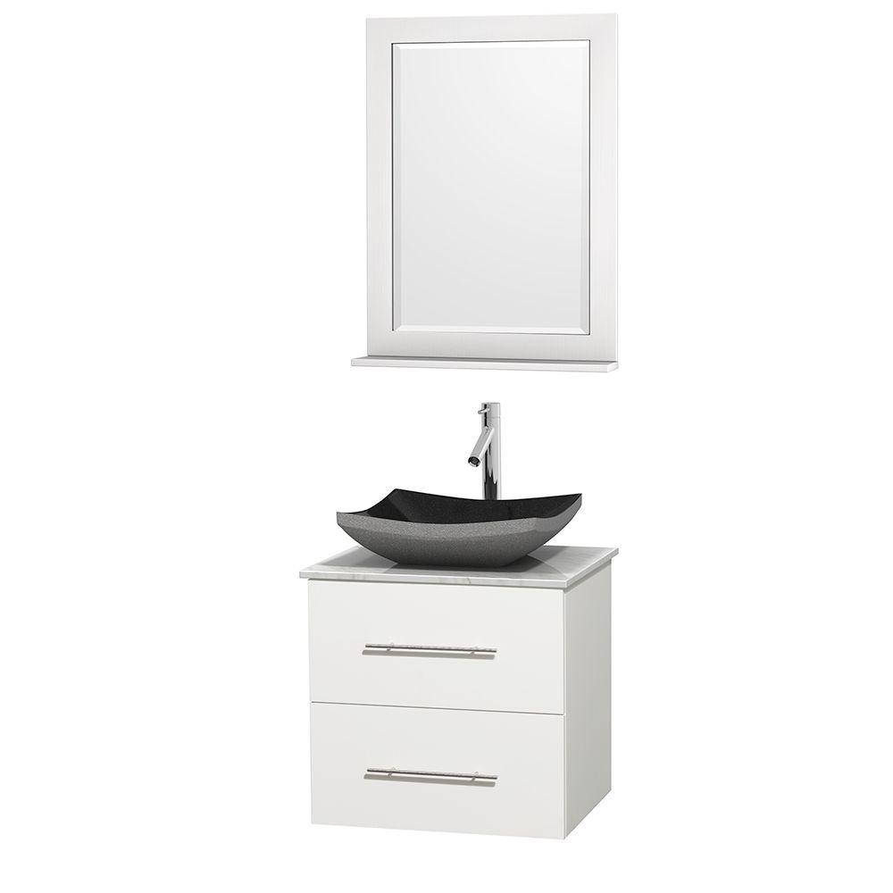 Wyndham Collection Centra 24 in. Vanity in White with Marble Vanity Top in Carrara White, Black Granite Sink and 24 in. Mirror