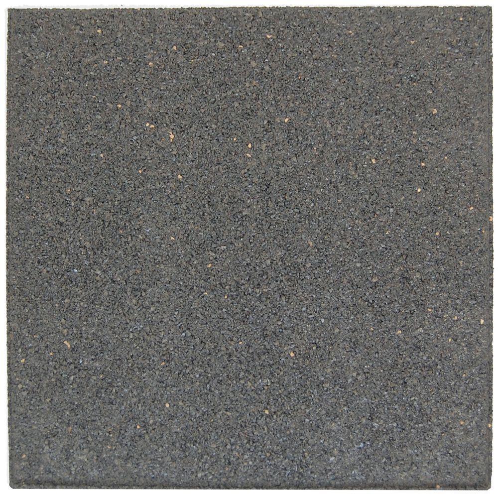Envirotile 18 in. x 18 in. Gray/Black Rubber Flat-Profile Paver