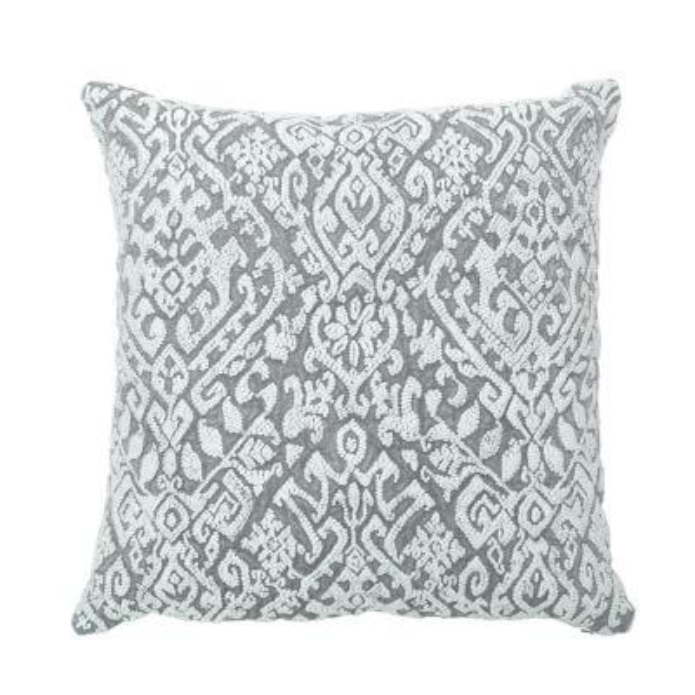 Wisteria Gray 22 in. x 22 in. Stonewash Linen Embroidery Decorative Pillow