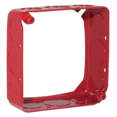 4 in. Square Drawn Extension Ring 1-1/2 in. Deep with 1/2 and 3/4 in. KO's - Life Safety Red (50-Pack)