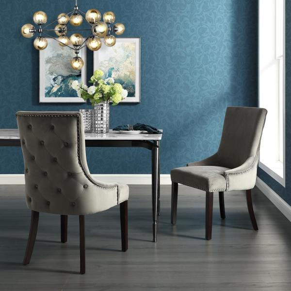 Inspired Home Piper Grey Velvet Nailhead Armless Dining Chair (Set of