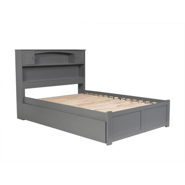 Atlantic Furniture Newport Grey Full Platform Bed with Flat Panel Foot Board and Twin Size Urban Trundle Bed