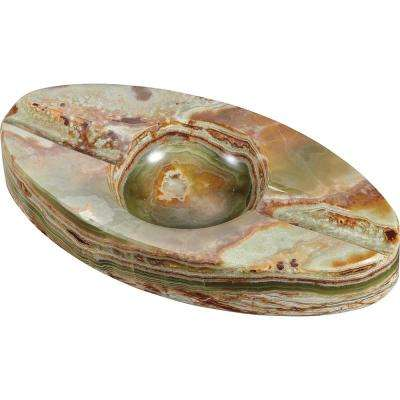Azure Jade Oval Onyx Cigar Ashtray with 2-Cigar Rests