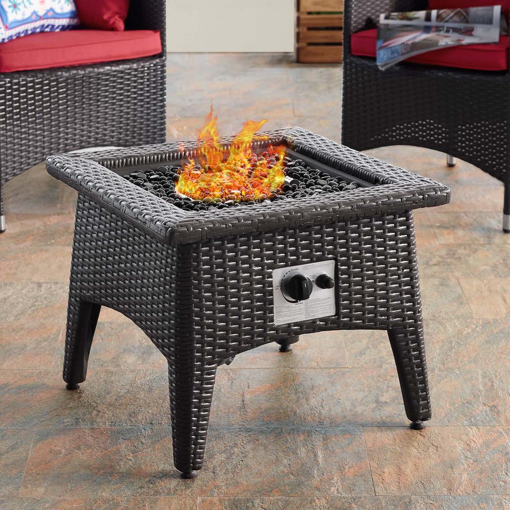 Vivacity Wicker Outdoor Fire Pit Accent Table in Espresso