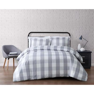 Everyday 3-Piece Grey Queen Duvet Cover Set