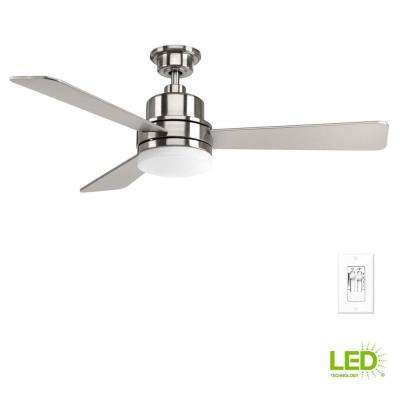 Trevina Collection 52 in. LED Indoor Brushed Nickel Modern Ceiling Fan with Light Kit