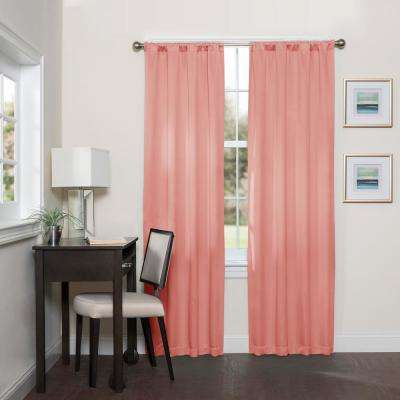 Darrell 63 in L Coral Rod Pocket Curtain, (1-Pack)