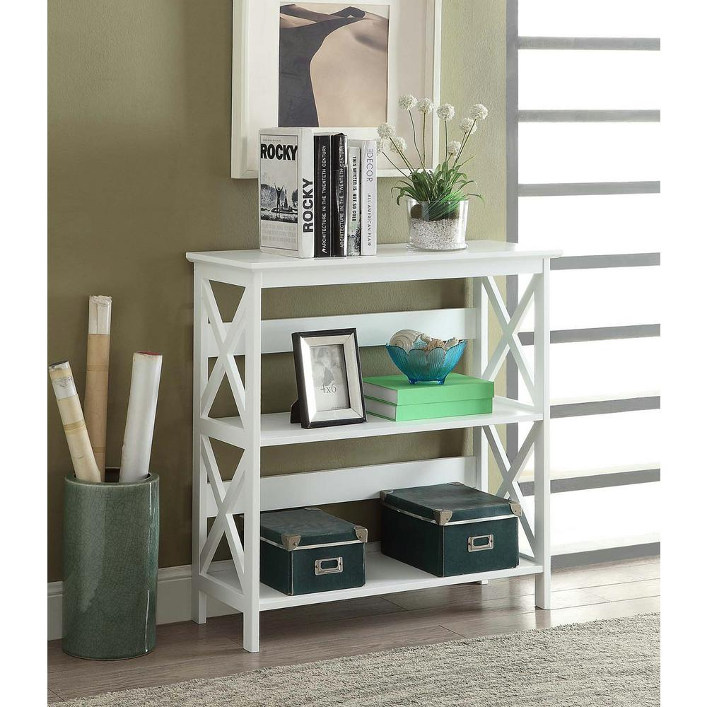 32.5 in. White Wood 3-shelf Etagere Bookcase with Open Back