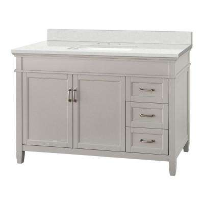 Ashburn 49 in. W x 22 in. D Vanity Cabinet in Grey with Engineered Marble Vanity Top in Snowstorm with White Basin