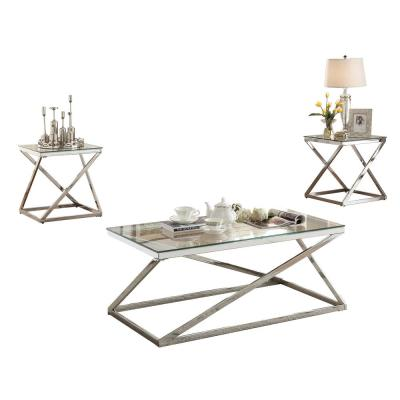 3-Piece 43 in. Silver/Clear Large Rectangle Tempered Glass Coffee Table Set