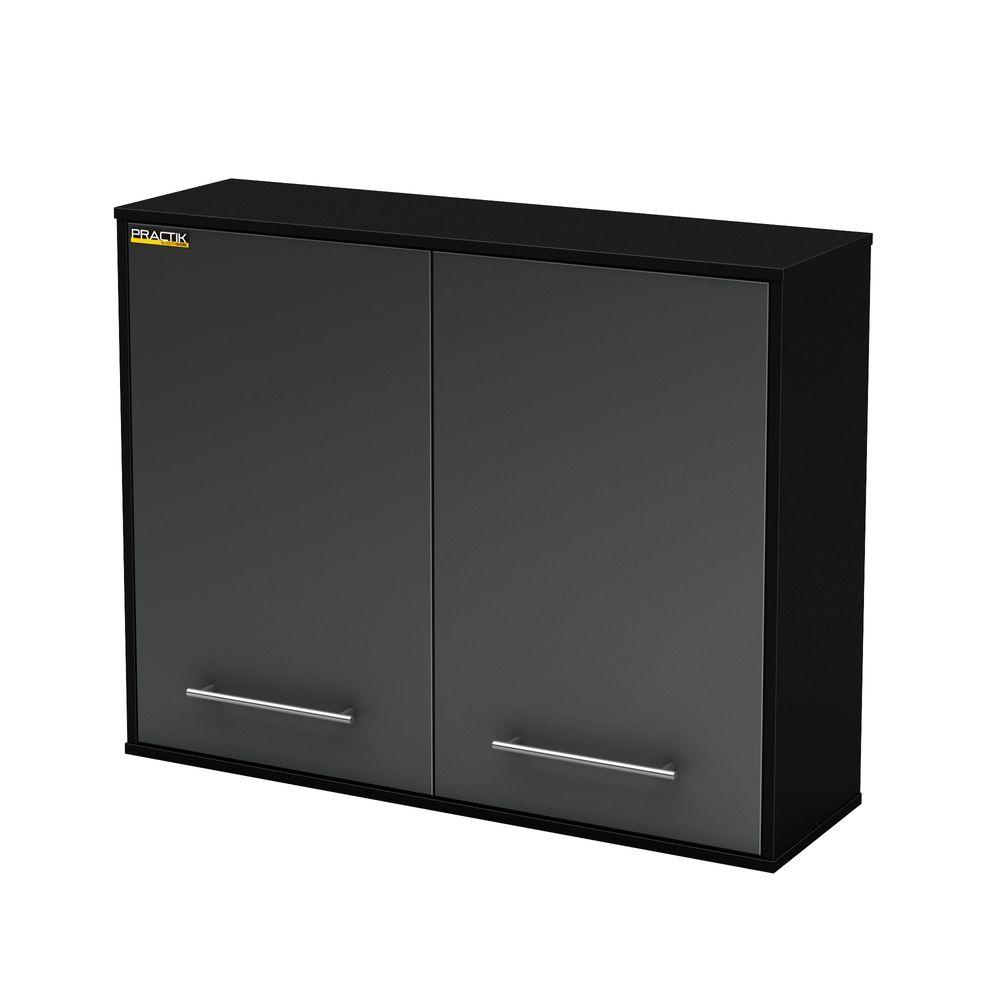 High Pure Garage Storage Wall Cabinet In Black And Charcoal