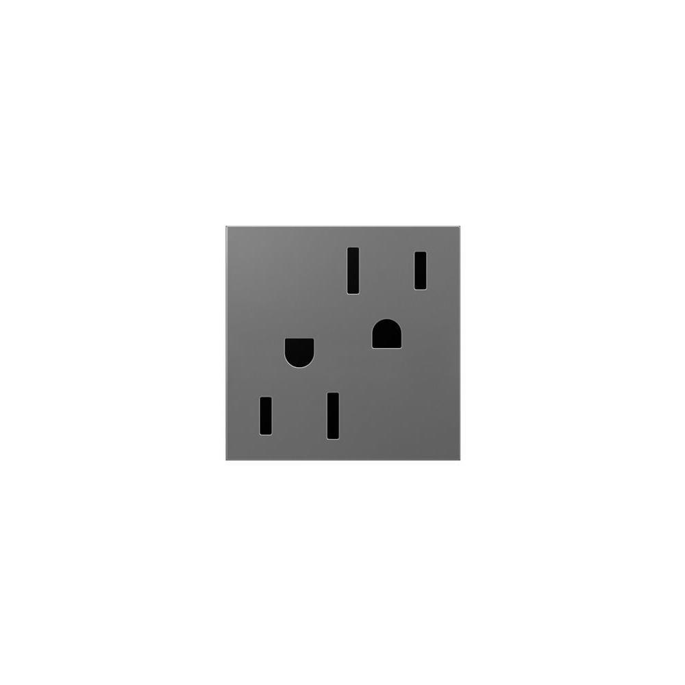 Legrand adorne 15 Amp 2-Module Safety Zone T Amper-Resistant Duplex Outlet, Magnesium