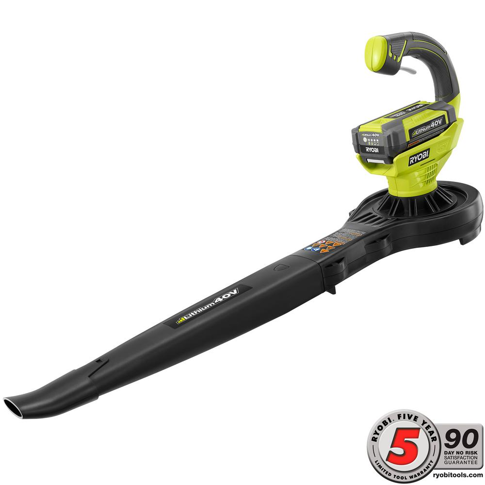 RYOBI 150 MPH 150 CFM 40-Volt Lithium-Ion Cordless Leaf Blower/Sweeper - 1.5 Ah Battery and Charger Included