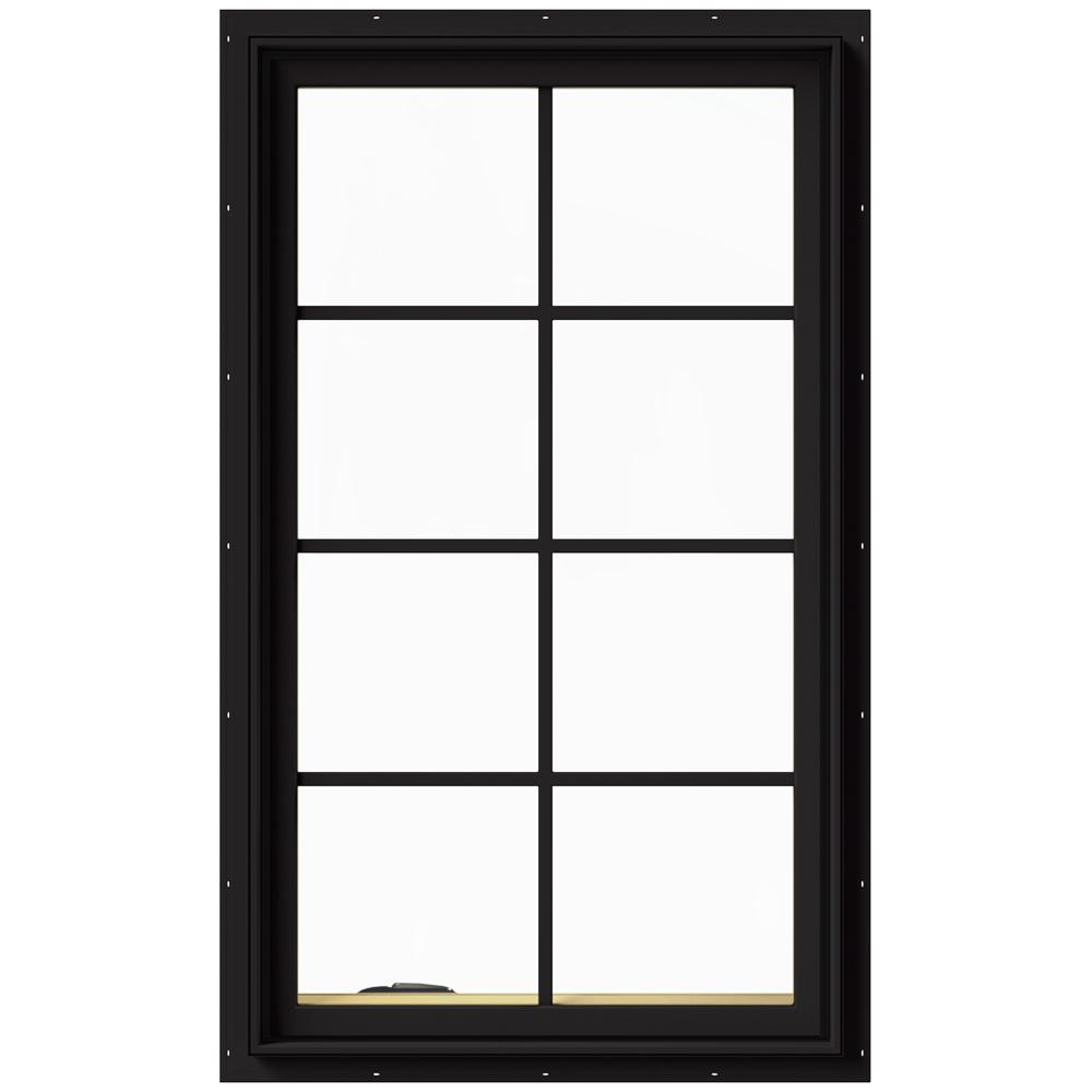 JELD-WEN 28 in. x 48 in. W-2500 Series Black Painted Clad Wood Left-Handed Casement Window with Colonial Grids/Grilles