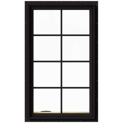 28 in. x 48 in. W-2500 Series Black Painted Clad Wood Left-Handed Casement Window with Colonial Grids/Grilles