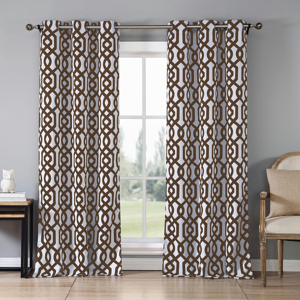Duck River Ashmont 38 in. x 84 in. L Polyester Blackout Curtain Panel in Chocolate (2-Pack)
