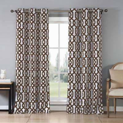 Ashmont 38 in. x 84 in. L Polyester Blackout Curtain Panel in Chocolate (2-Pack)