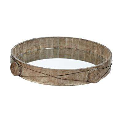 Equation 19 in. x 3 in. Round Wood And Iron Wire Decorative Tray in Natural