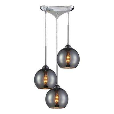 Cassandra 3-Light Polished Chrome Ceiling Mount Pendant