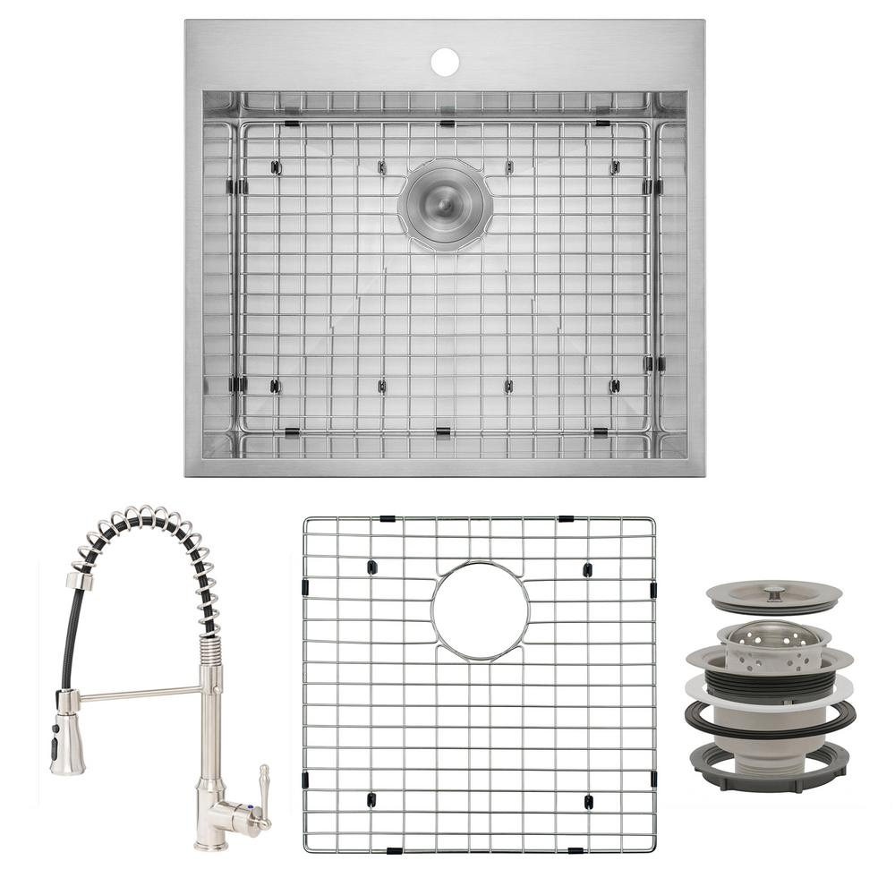 AKDY Handmade All-in-One Drop-in Stainless Steel 25 in. x 22 in. with Faucet and Sink Grid 1-hole Single Bowl Kitchen Sink, Brushed Stainless Steel was $468.0 now $289.99 (38.0% off)
