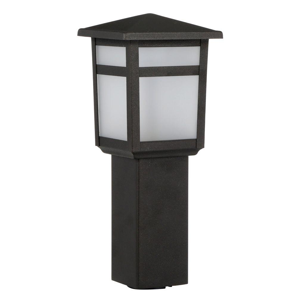 Hampton bay low voltage 10 watt equivalent black outdoor integrated hampton bay low voltage 10 watt equivalent black outdoor integrated led square bollard landscape workwithnaturefo