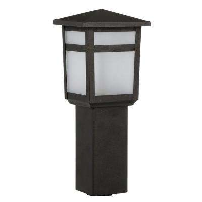 Low-Voltage 10-Watt Equivalent Black Outdoor Integrated LED Square Bollard Landscape Path Light with Frosted Glass